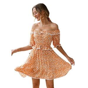 Women's Off Shoulder Ruffle Mini Dress floral